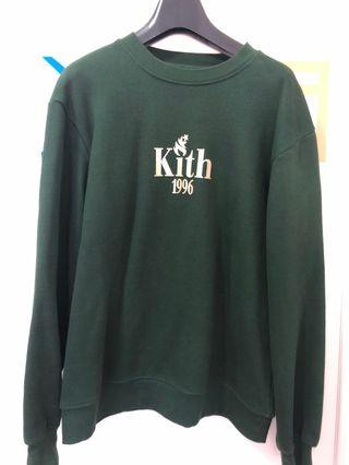 KITH 紐約潮牌 墨綠燙金厚磅衛衣 XS寬版