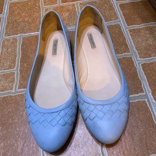 Bottega veneta 水藍編織娃娃鞋 真品