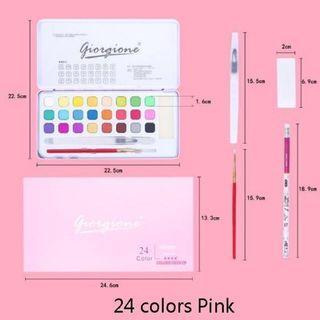 Bright Neon Pastel Watercolour Palette Solid Set