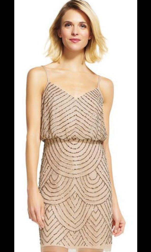 Adrianna Papell Stunning Nude & Gold Beaded Dress Size 14