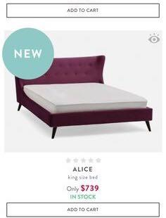 Alice Wine Red Velvet King size bed frame from Structube