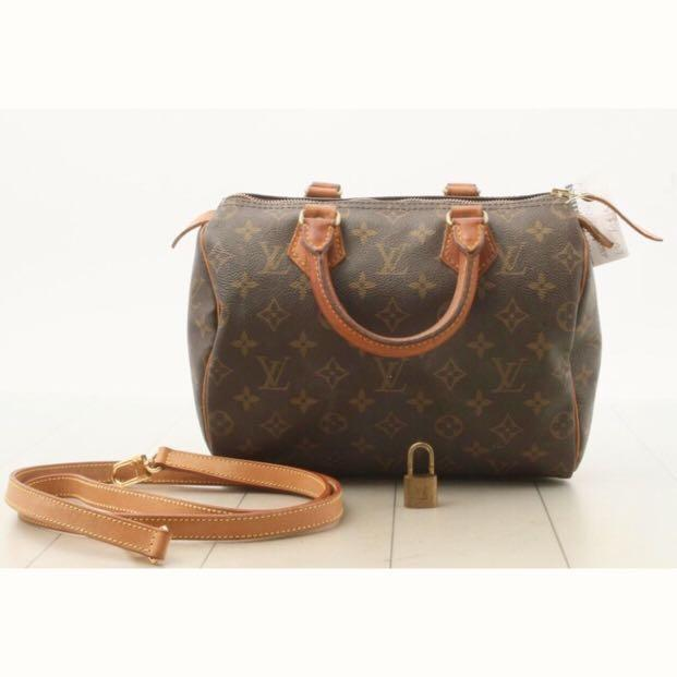 Authentic Louis Vuitton LV Monogram Speedy 25 tote bag with long adjustable strap