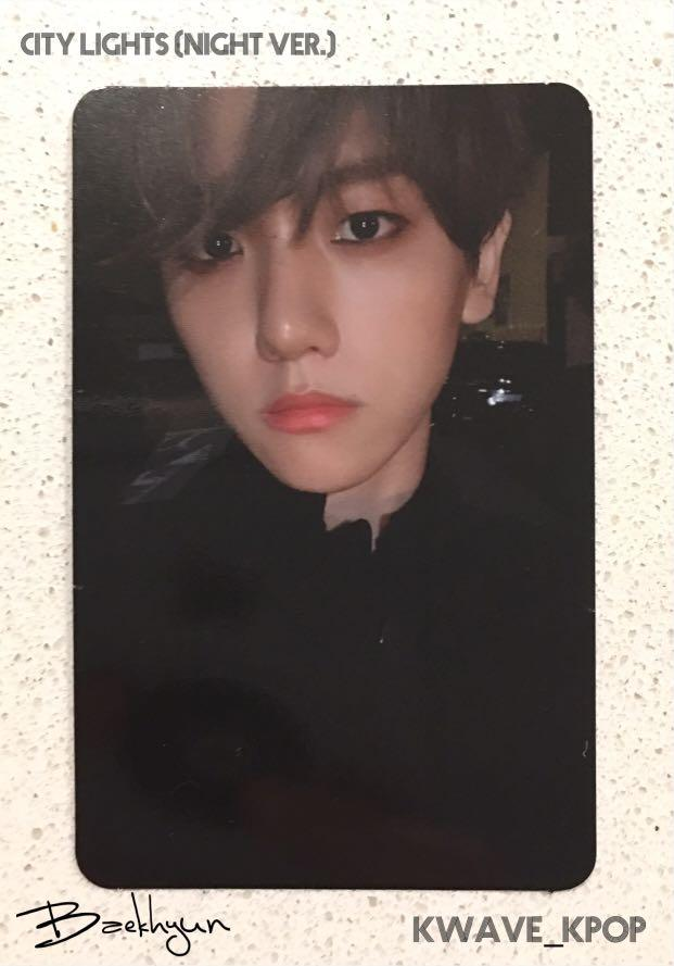 BAEKHYUN (변백현) CITY LIGHTS ALBUM (NIGHT VERSION) - Official Photo Card Only - Free shipping!