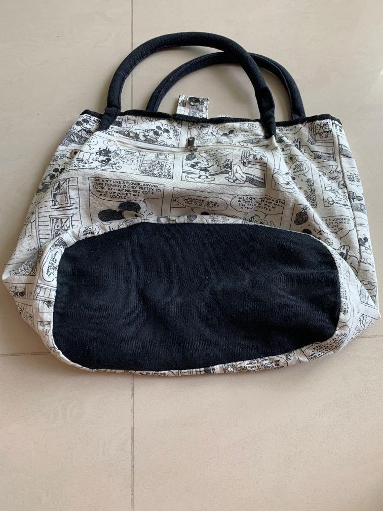 #btpanjang Bn back and white fabric bag