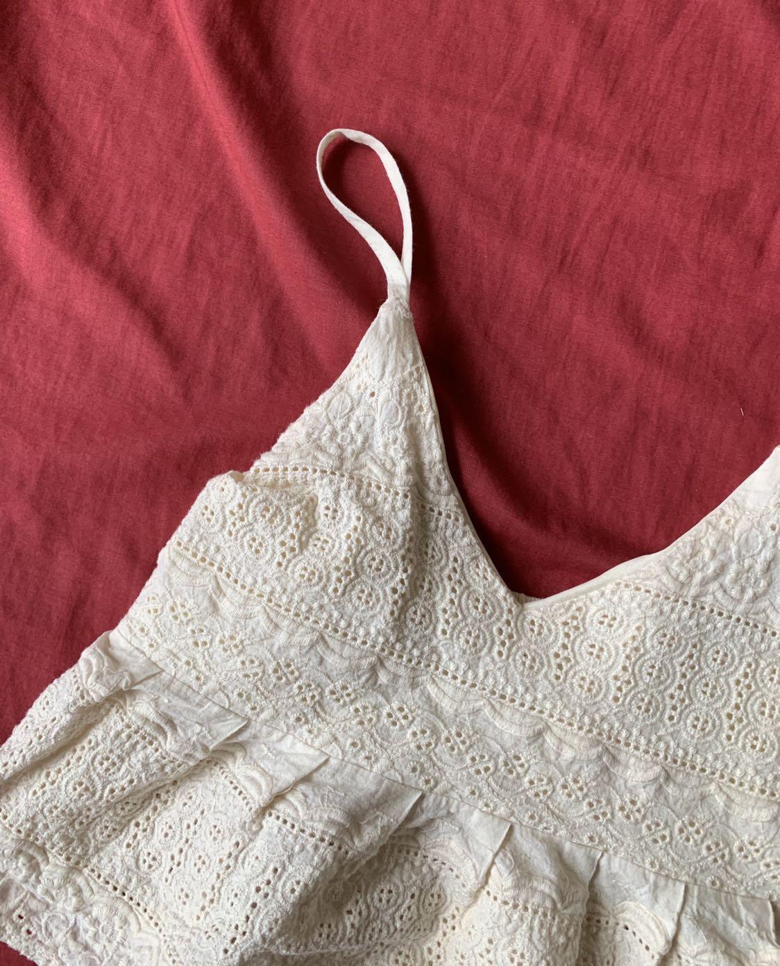 cream crochet babydoll crop