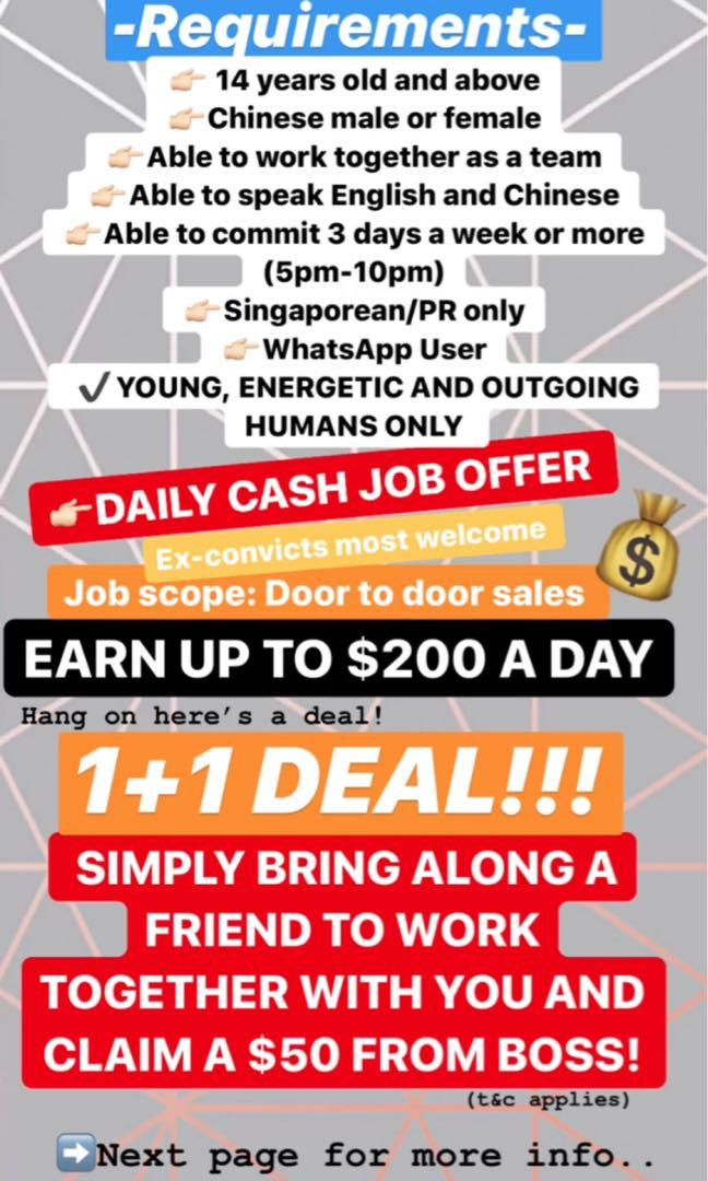Daily Cash Job Door To Door Sales Jobs Sales Retail Marketing On Carousell