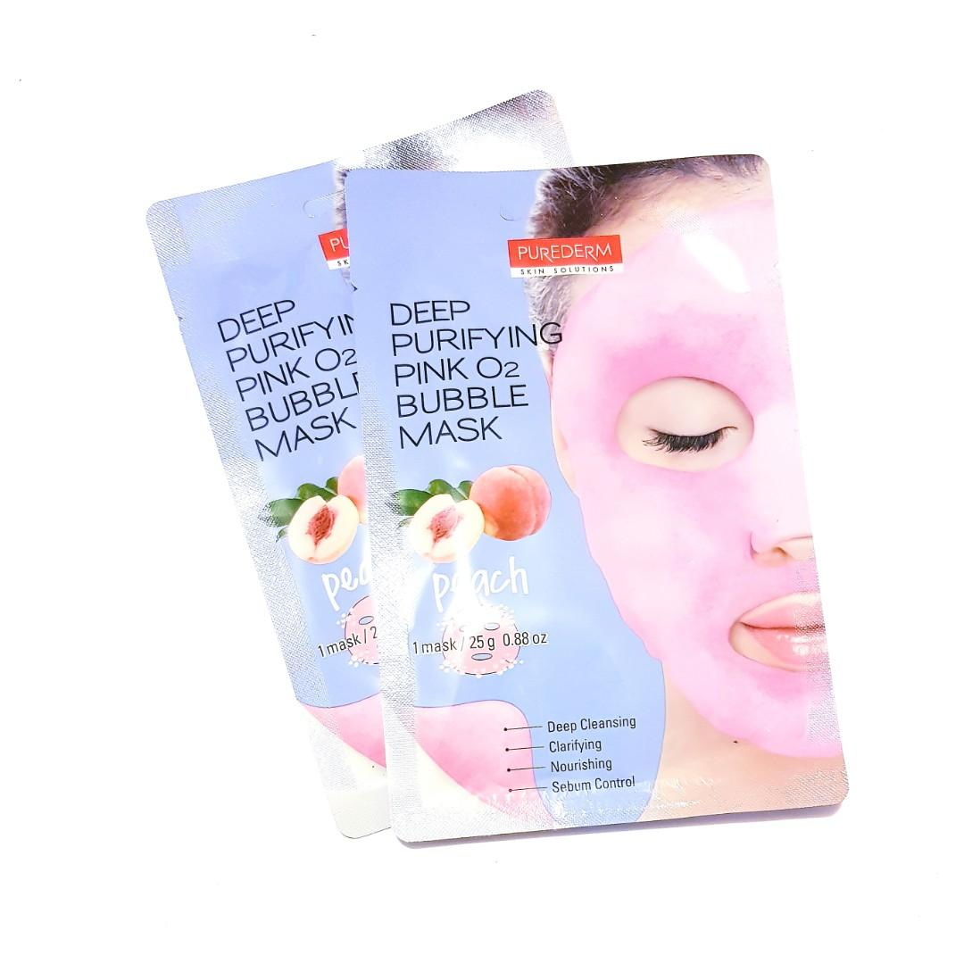 Deep Purifying Skin Solutions Facial Peach Pink O2 Bubble Face Mask