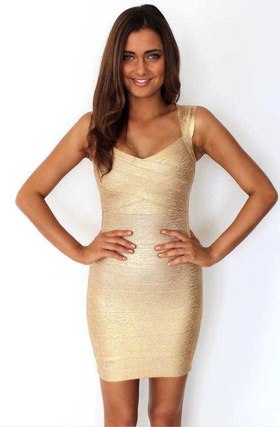 Gold Dolce Bandage Dress, Size Small