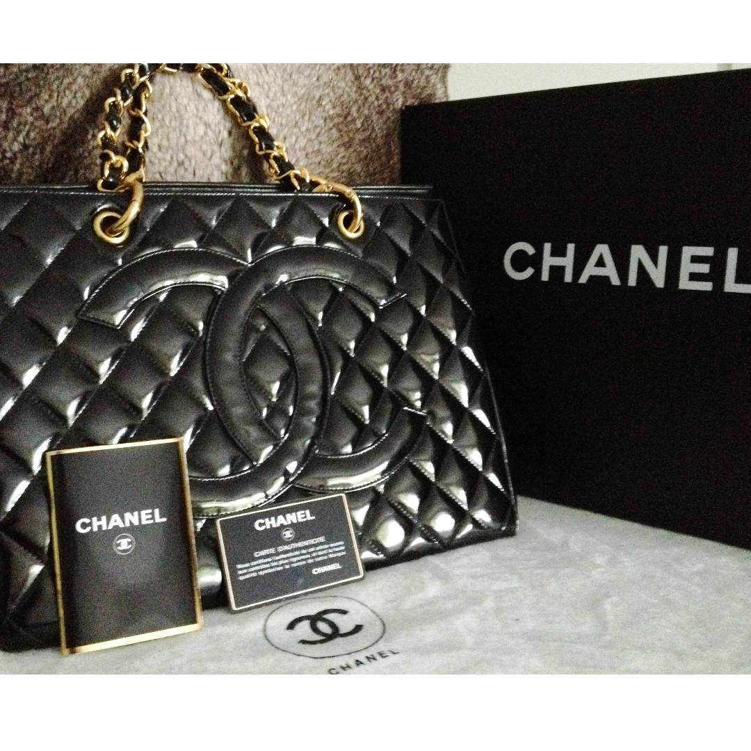FULL SET MINT CHANEL Black Patent Leather 24K Gold Chain Grand Shopper Tote GST Bag