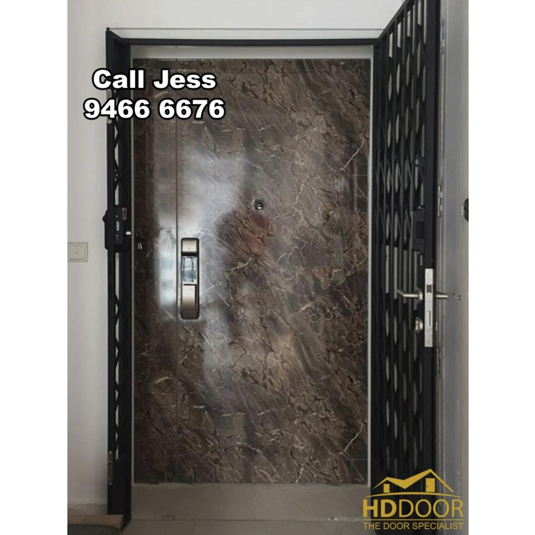 HDB Laminate Nice Design you like do Main Door with Digital Lock