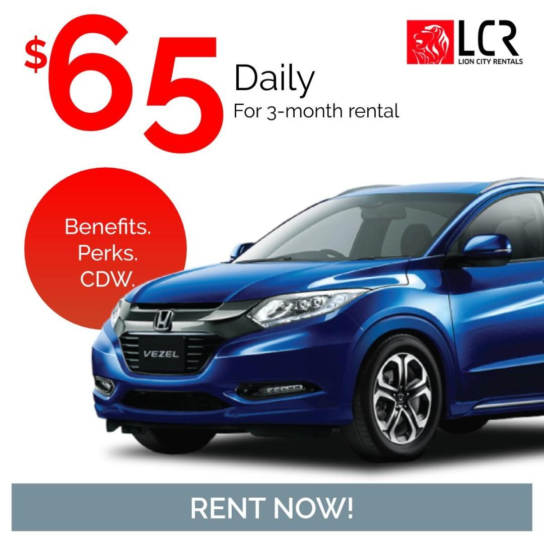 Honda Vezel available for rent for as low as @ $64.20/day!