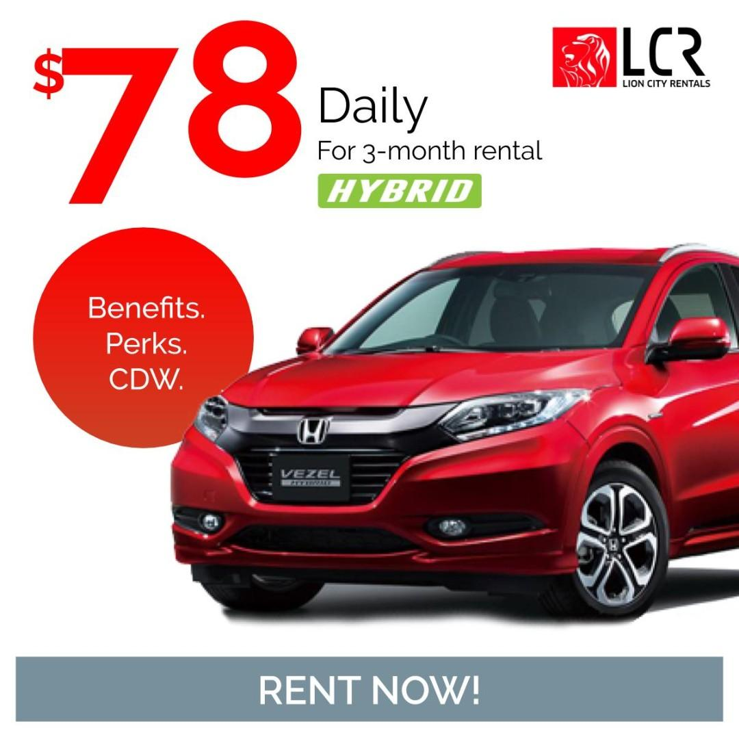Honda Vezel Hybrid available for rent for as low as @ $77.04/day!