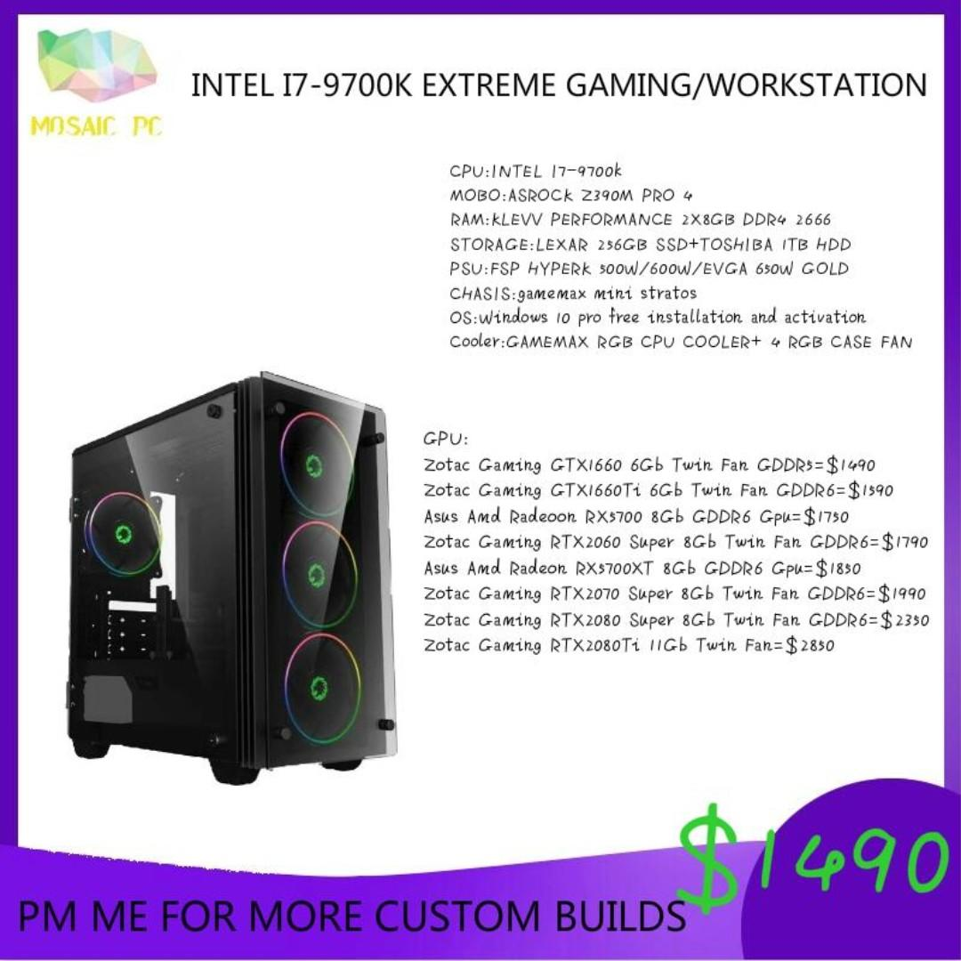 INTEL I7-9700K RGB EXTREME GAMING CUSTOM DESKTOP PC WITH