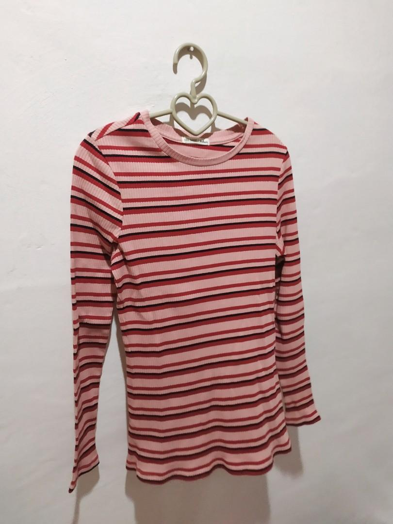 buying cheap exclusive deals wholesale price Light Salmon Pink Striped Top on Carousell