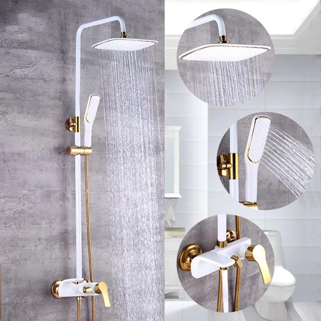 Luxury Europe Style Rainshower White Gold Color Copper