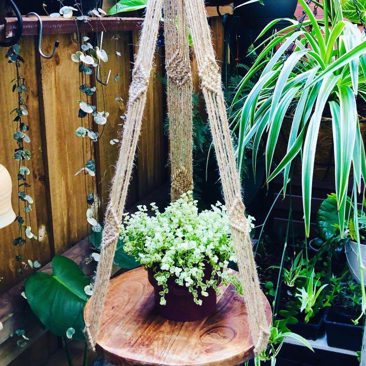 Macrame Hanger with Wooden Board/ Handcraft/ Handmade/ Jute/ Plant Hanger