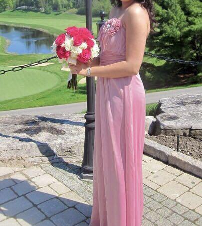 Pink strapless bridesmaid dress, excellent condition!