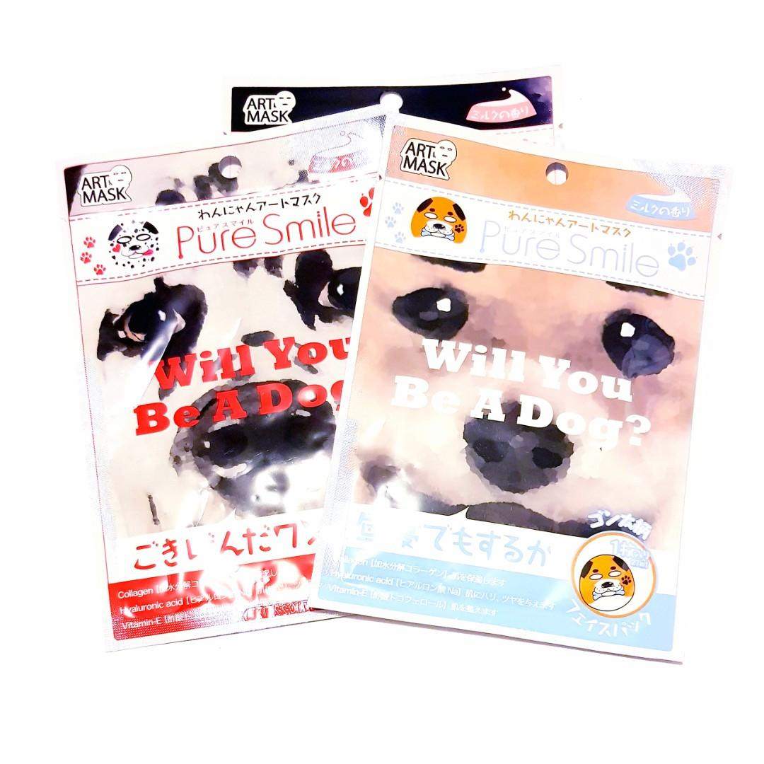 Pure Smile Face 'Will you be a dog?' and 'Will you be a cat?' Facial Art Animal Mask