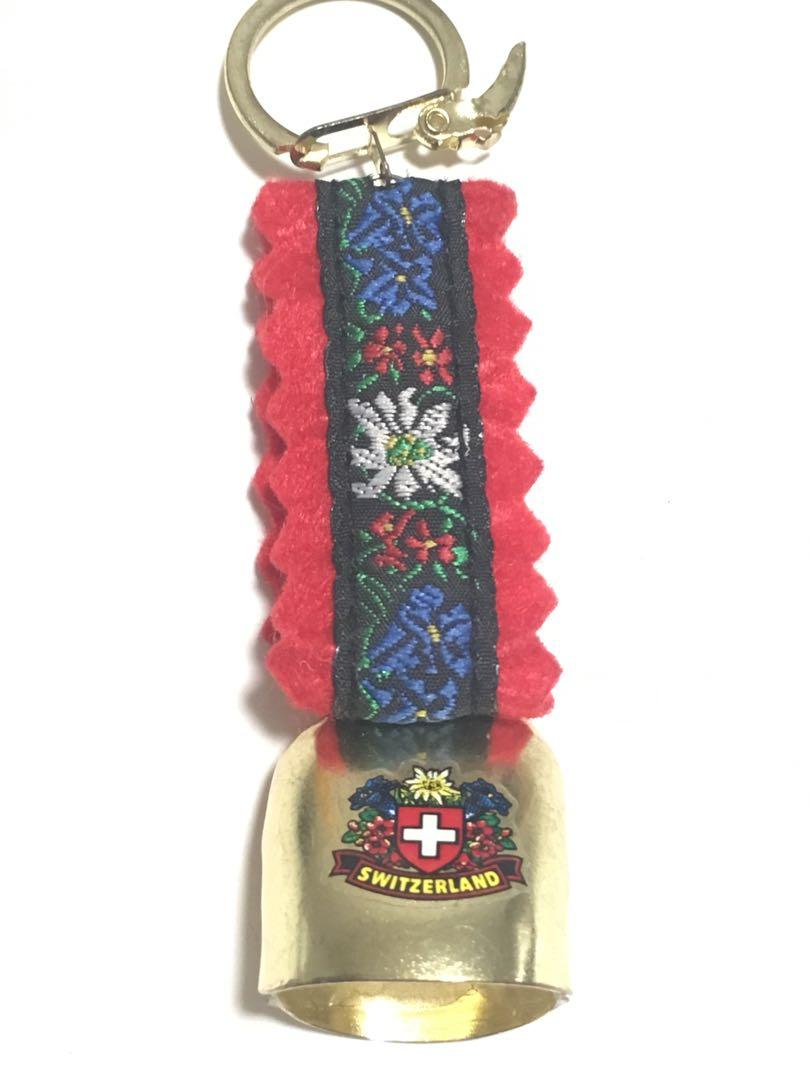 Red floral Gold Switzerland keychain keys Souvenir new gift