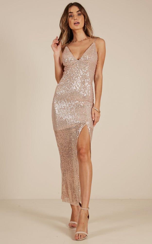 Showpo Rose Gold 'Highschool Sweetheart' Formal Sequin Dress
