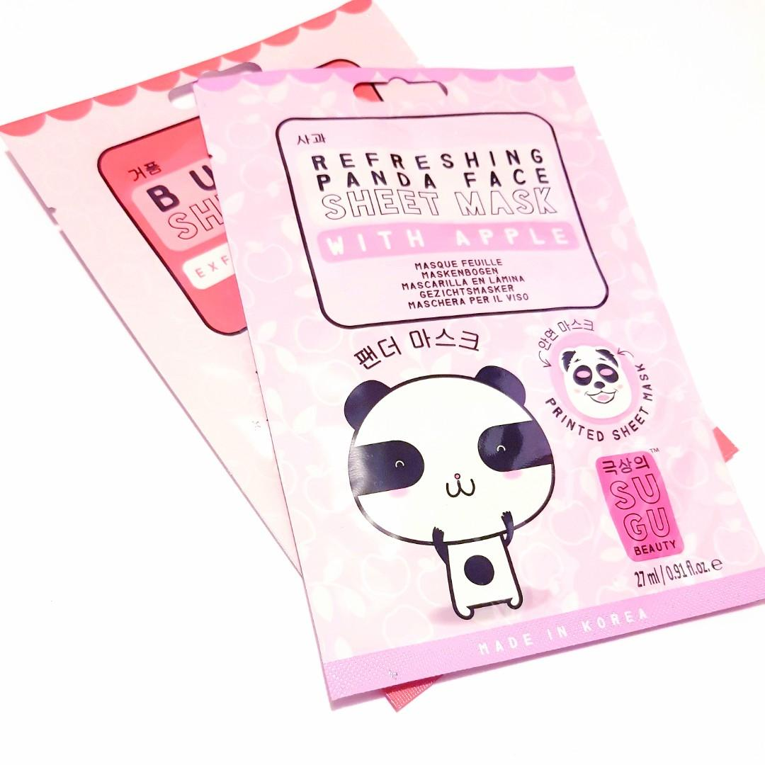 Sugu Beauty Refreshing Panda Printed Face Beauty Facial Masque Korean Sheet Mask With Apple