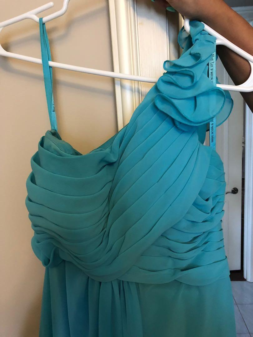 Turquoise one-shoulder bridesmaid dress, Chiffon, Medium