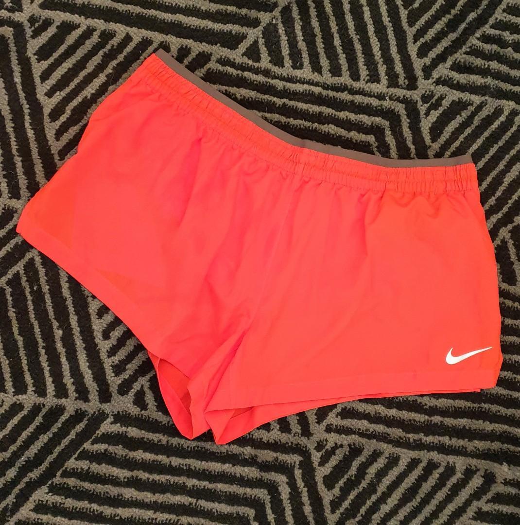 Women's size L 'NIKE' Gorgeous orange dri-fit activewear shorts - AS NEW