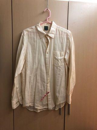 米白長袖薄襯衫
