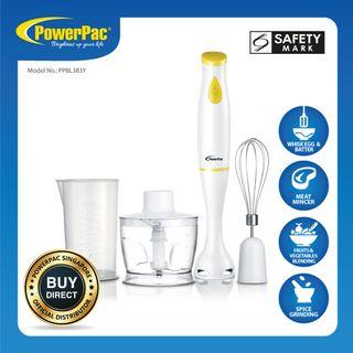 PowerPac 4 in 1 Yellow Multifunction Electric Hand Blender Set (PPBL383Y)