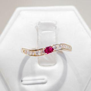 Swirl Ruby Diamond Ring
