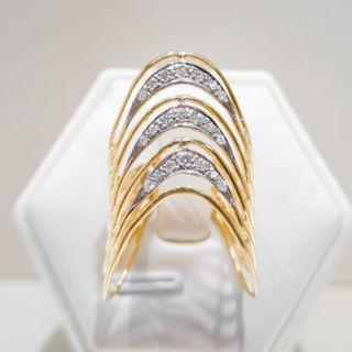 Yellow Gold Long Filigree Ring
