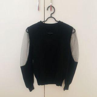 Black knit sheer top