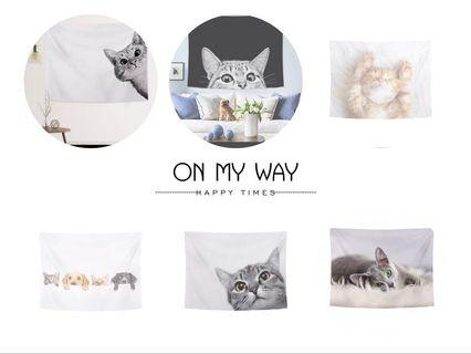 北歐風簡約掛布。貓咪掛布 掛毯。 居家佈置