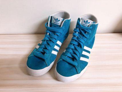 adidas basket profi 高筒 帆布鞋 球鞋 水藍色 土耳其藍