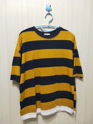 黃藍條紋上衣(下擺雙邊開岔)