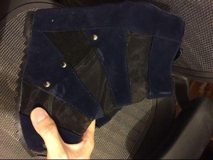 藍色麂皮網狀鞋
