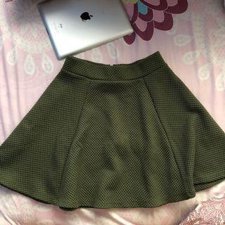 H&M Green Skater Skirt