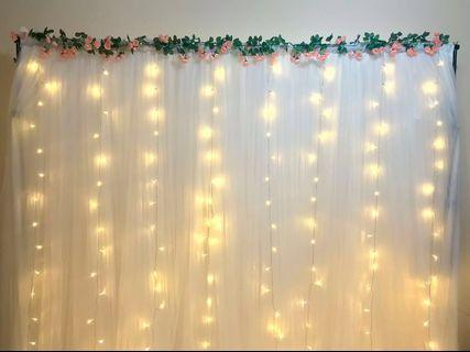 White Backdrop Rental (with curtain fairylights)