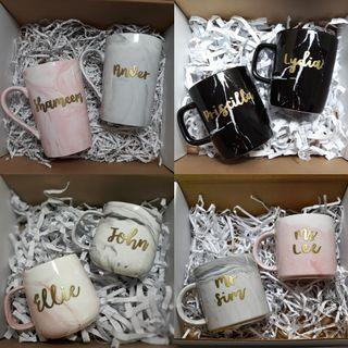 Personalised Marble Mugs Marble Cups Customised Mugs Customisable Gifts Calligraphy Emboosed Office Supplies Gift Ideas Wedding Gift Couple Mugs Anniversary Gift Farewell Graduation Teachers' Day Gift Bulk Order Gifts Childrens Day Gift calligraphy