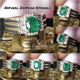 Natural Zambian Emerald Silver Ring