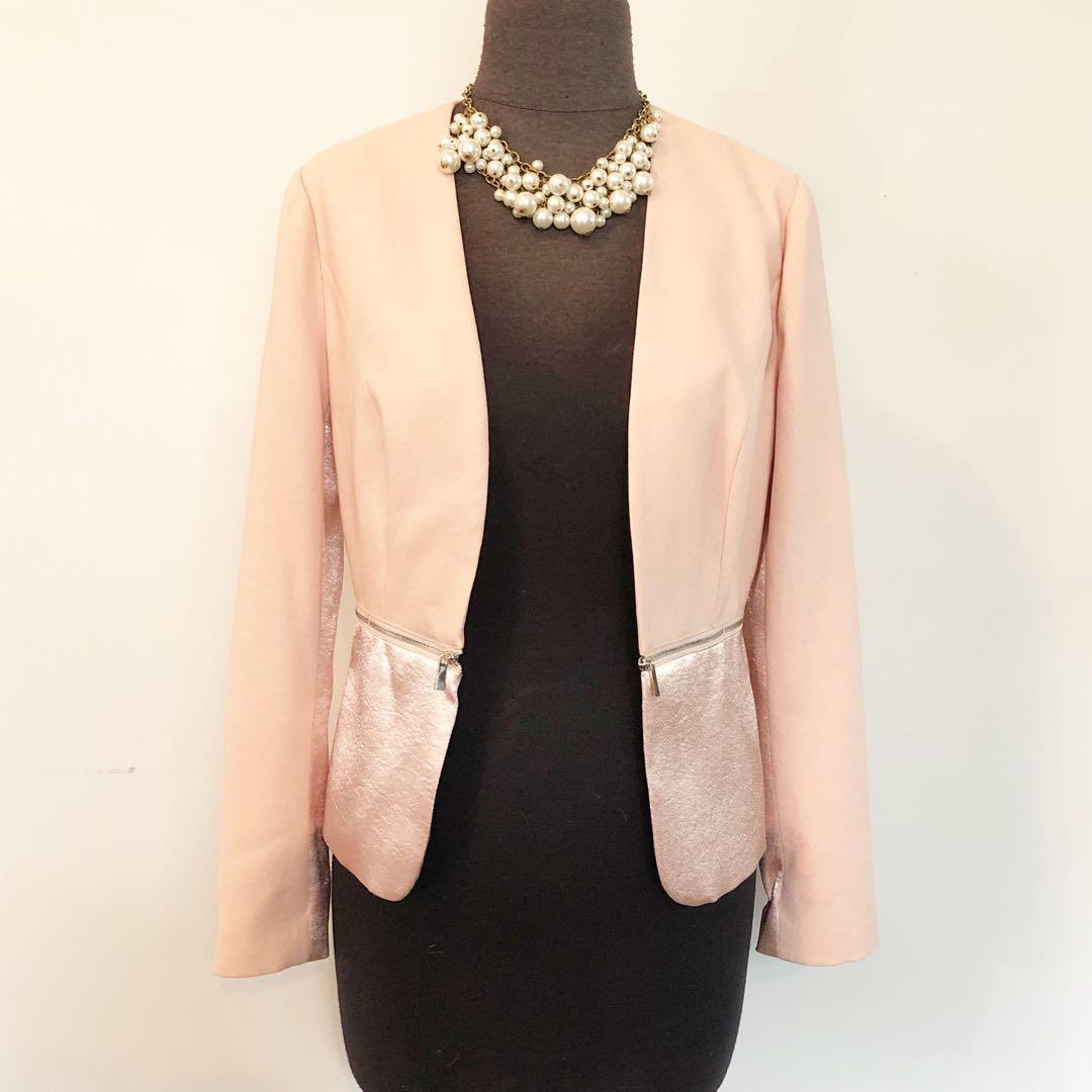 1. State Peach Blazer with Zipper Detail - Size XS