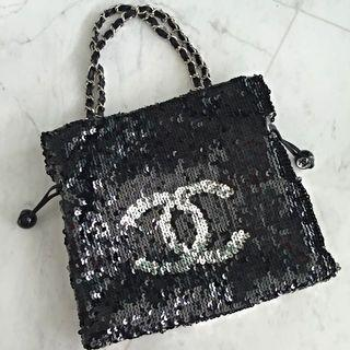 Chanel Summer Nights Black And Silver Sequin Tote