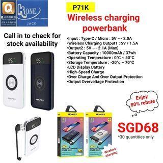 Awei P71K 10,000mAh Wireless Charging Power Bank