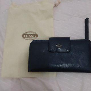 Dompet Fossil (sidney Tab Clutch Heritage Blue). Original Authentic