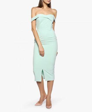 Lavish Alice mint green tailored Bardot dress