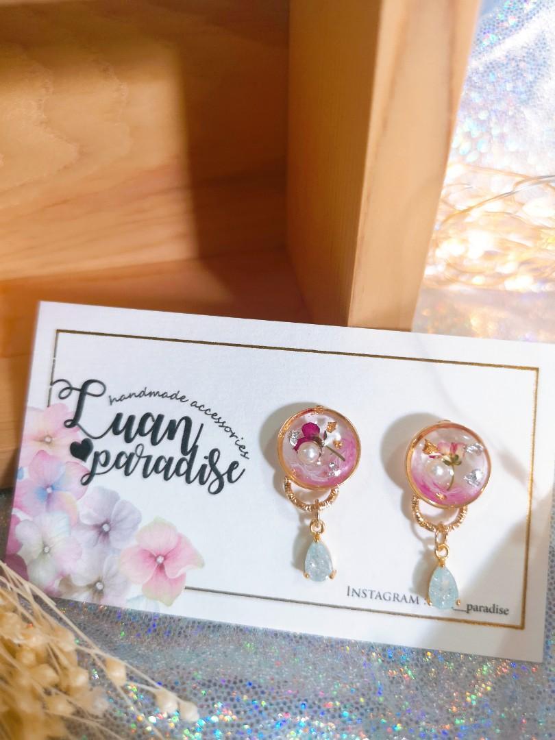 『特價品』❁ Tᴵᴺʸ ❁ 永生花香雪球渲染迷你耳環