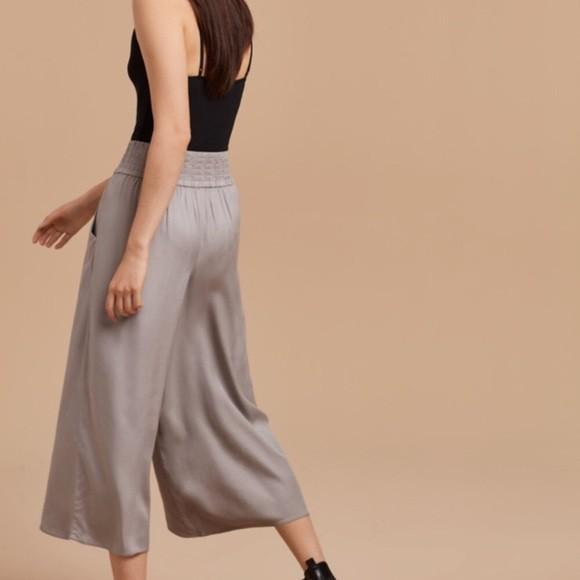 Aritzia Azure Skies Talula Sullivan wide cropped pants small s in grey/lucite