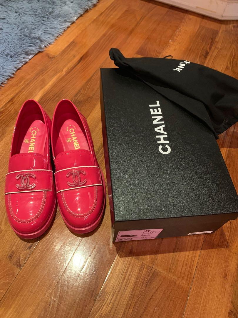 Chanel Shoes loafers pink 樂福鞋 39.5 patent 漆皮