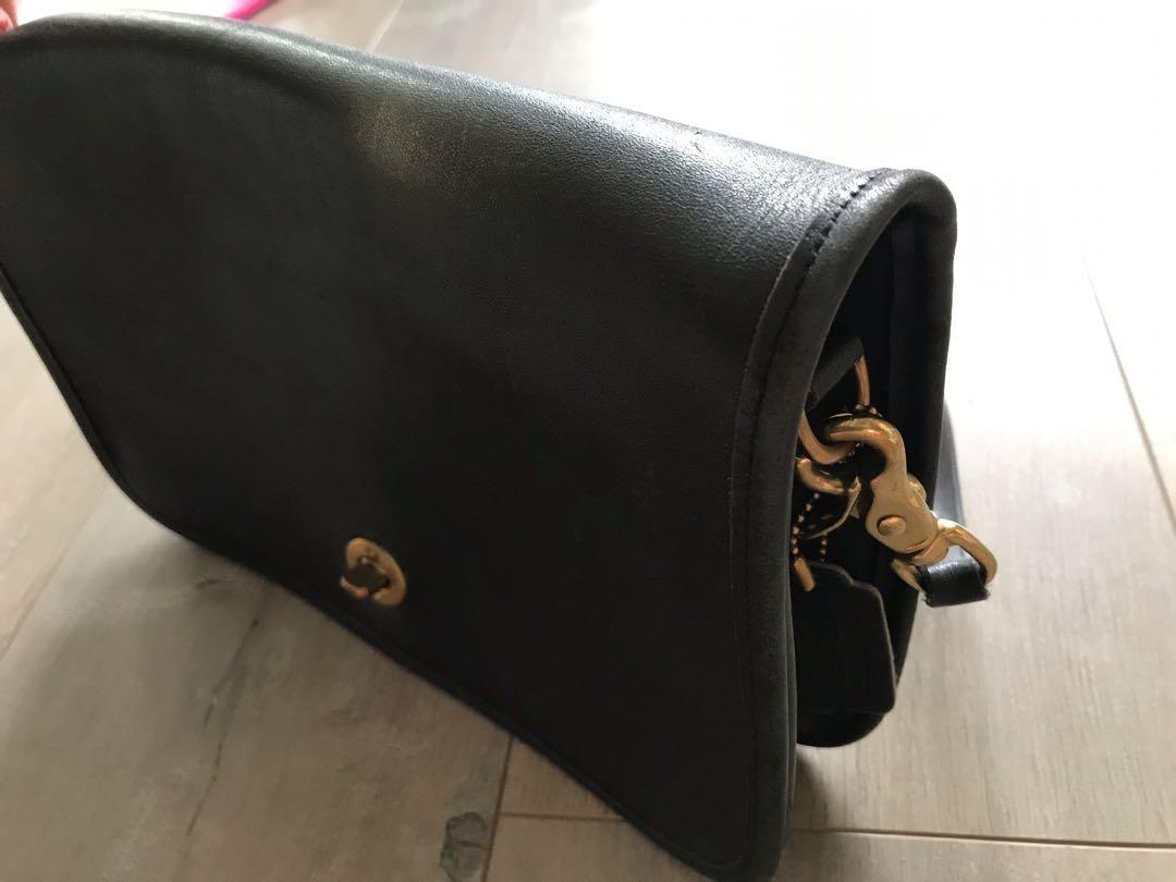 Coach Vintage Black Leather crossbody gold hardware