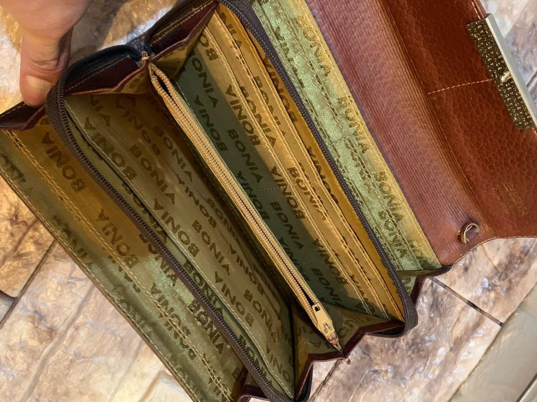 Dompet Bonia vintage full leather tebal muat banyak sist authentic